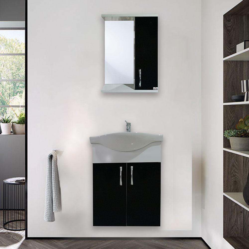 65 Cm Flora Siyah Banyo Dolabı